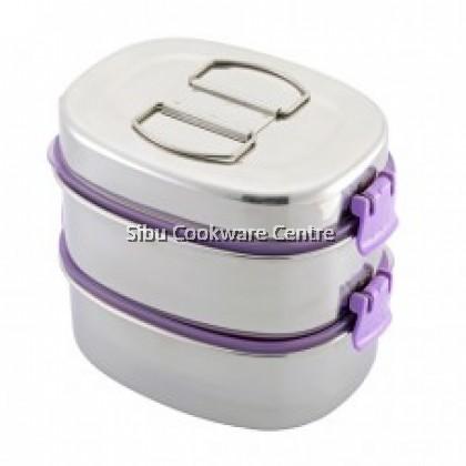 16cm x 2 Zelect Smart Lock II Oval Lunch Box