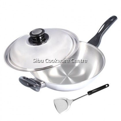 28cm Vitalux 3 Ply Wok with Lid and Turner (Long and short handle)