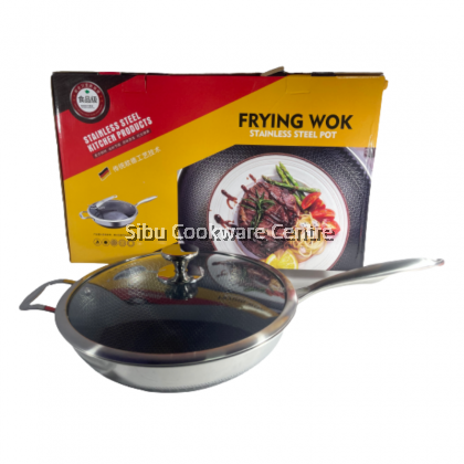 34cm 304 Stainless Steel Honeycomb Healthy Non Stick Wok