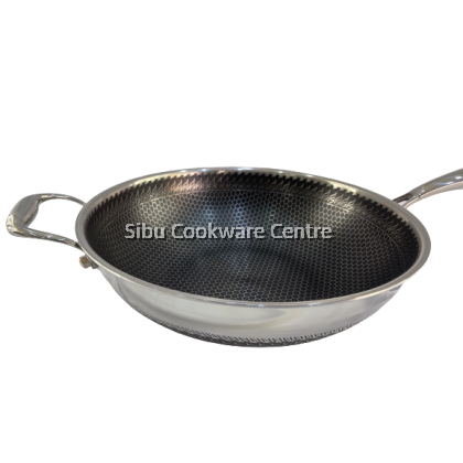 34cm 316 Stainless Steel Honeycomb Healthy Non Stick Wok + Glass Lid